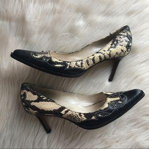 Christian Dior vintage heels snakeskin western 39